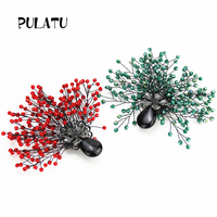 PULATU new copper brooches for women 2017 jewelry decoration in party feminino brooch pins 2 colors rhinestonel brooch new year