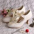 Wedopus Personalizada Hecha A Mano Mujeres Cordón de Marfil Novia de La Boda Zapatos de Tacón Bajo para Las Mujeres