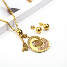 OUFEI Stainless Steel Jewelry Woman Vogue 2019 For Lovers Jewelry Sets Necklace Earrings set Jewelry Accessories jewellery cheap Women Metal TRENDY Necklace Earrings Fashion XH0559-ST-G Party geometric kolye colar collier femme colar feminino bijuteria