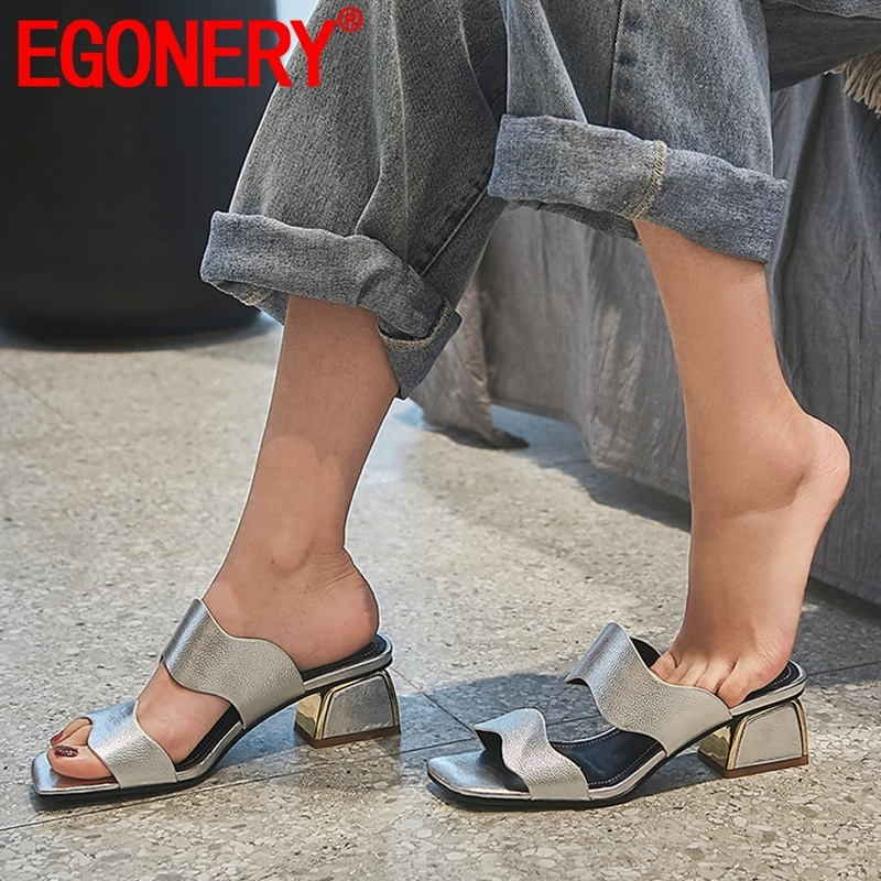 EGONERY woman shoes summer new fashion sexy open toe handmade genuine leather woman slippers outside high