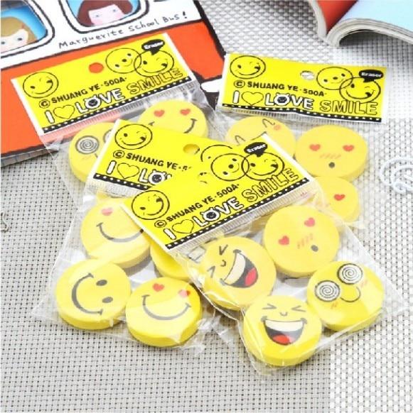 <font><b>2</b></font> <font><b>x</b></font> 4 Pcs/lot (<font><b>1</b></font> bag ) Cute Kawaii Smile <font><b>Rubber</b></font> Eraser Gift School Supplies Korean Stationery For Kids Wholesale Free Shipping