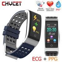 Chycet E08 Smart Bracelet ECG PPG Blood Pressure Measurement Fitness Tracker Watch Bracelet Waterproof Heart Rate Monitor