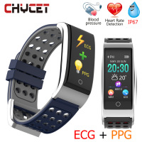Chycet E08 Smart Bracelet ECG PPG Blood Pressure Measurement Fitness Tracker Watch Bracelet Waterproof Heart Rate Monitor Women