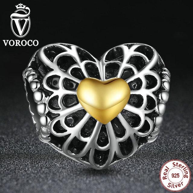 Moda 925-sterling-silver vintage coração grânulos de charme com o two-tone charme fit pandora original pulseira jóias s004