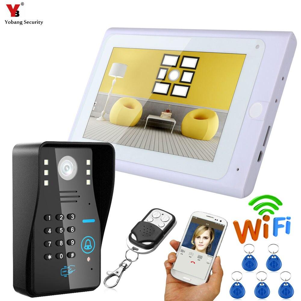Yobang Security 7 inch Wired / Wireless Wifi RFID Password Video Door Phone Doorbell Intercom with Support Remote APP unlocking