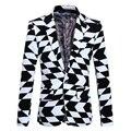 Trajes formales para Los Hombres Negro y blanco jacquard Moda trajes casuales Masculinos Hombres Trajes chaqueta personalidad Caballero de Alta Calidad de Vida
