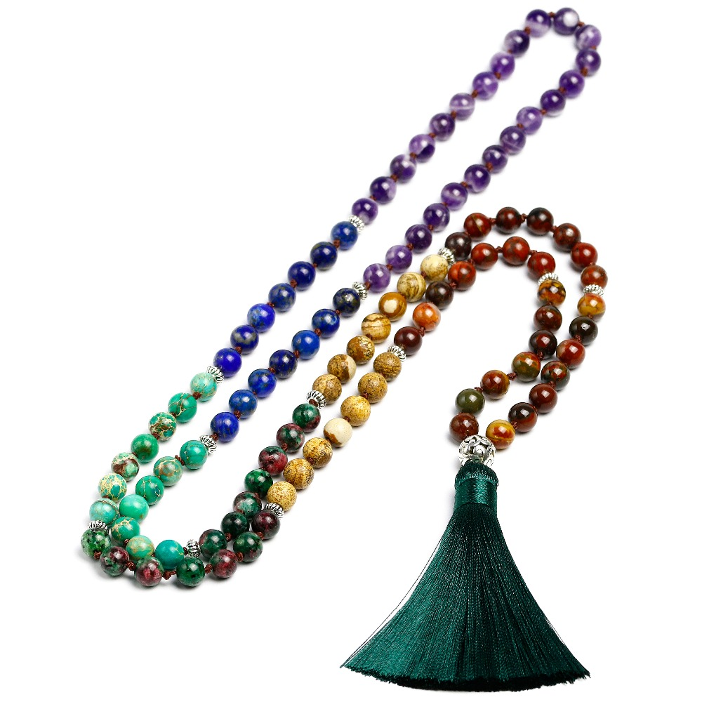 7 Chakra Mala 108 Beads Natural Stone Long Tassel Necklace Women Meditation Necklace Knotted Bead Yoga Necklaces Jewelry long bead necklace ocean grass bead necklace boho natural stone necklace gift for her yoga