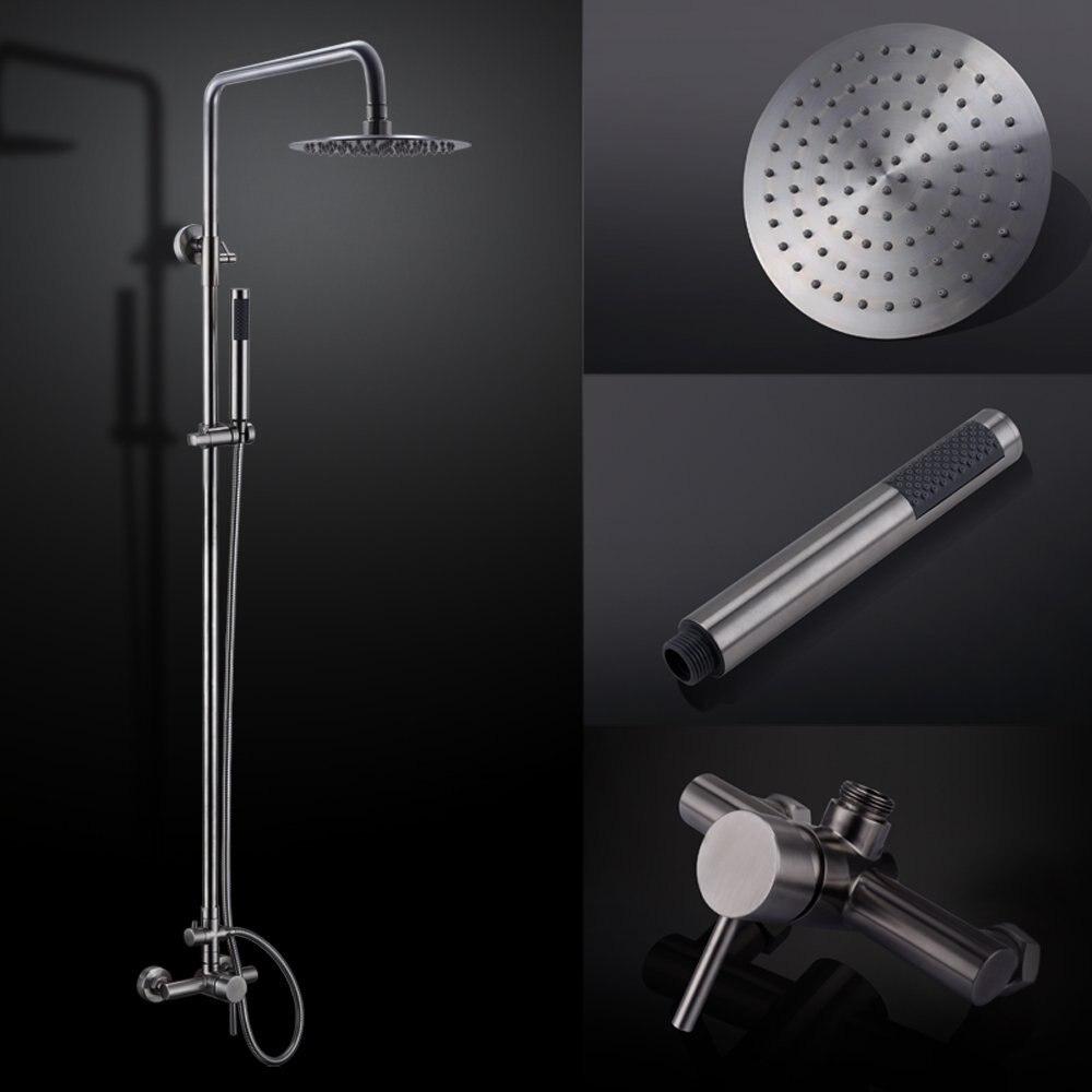Robinet de douche en acier inoxydable pour salle de bain système de douche sans plomb avec pomme de douche à effet pluie barre de douche réglable