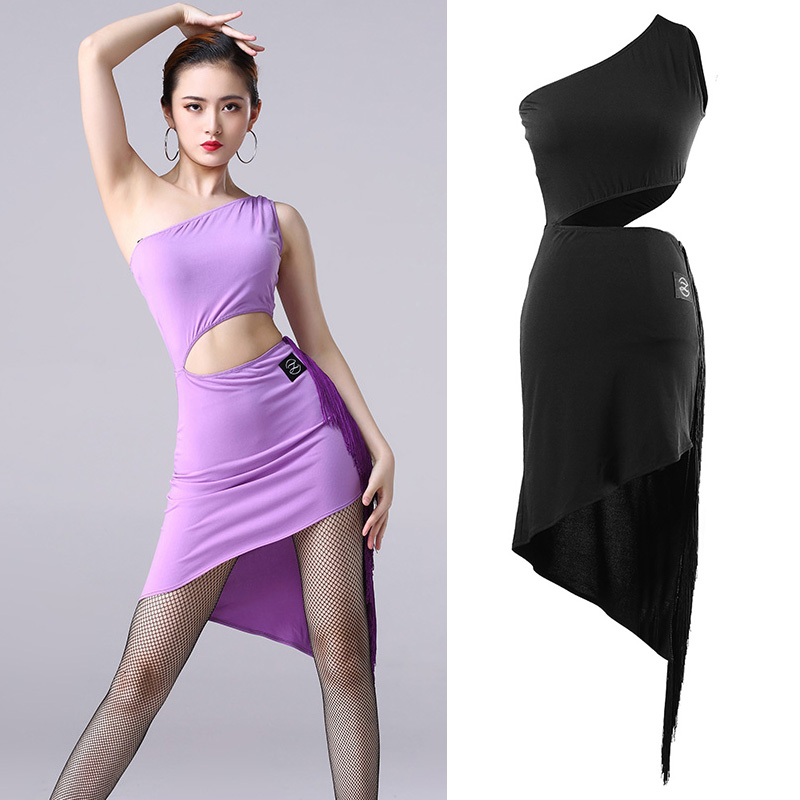 2019 New Latin Dance Dress For Women'S Sexy Irregular Fringed One Sleeved Dresses Female Ballroom Salsa Practice Clothes DL3898