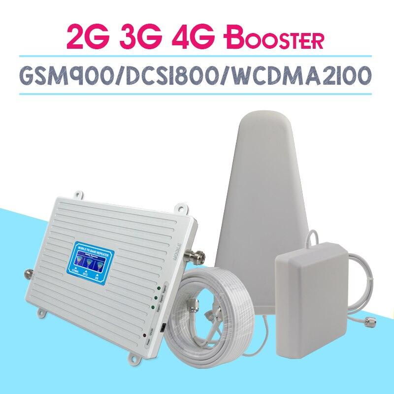 Caliente 2G 3G 4G Tri banda de señal celular amplificador GSM900 4G DCS/LTE1800 3G WCDMA2100mhz teléfono celular Booster 70dB repetidor