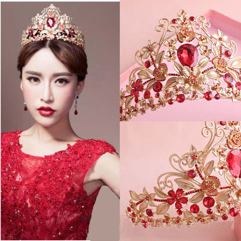 New European Retro Gold Vetiver Irises Hair Crown For Wedding Red Rhinestones Bridal Pageant Tiaras Free shipping T-740