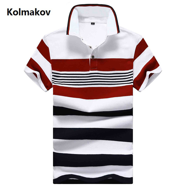 2019 summer Men's fashion turndown collar Polo shirts Mens high quality short sleeves stripe Polo shirt men size M-4XL