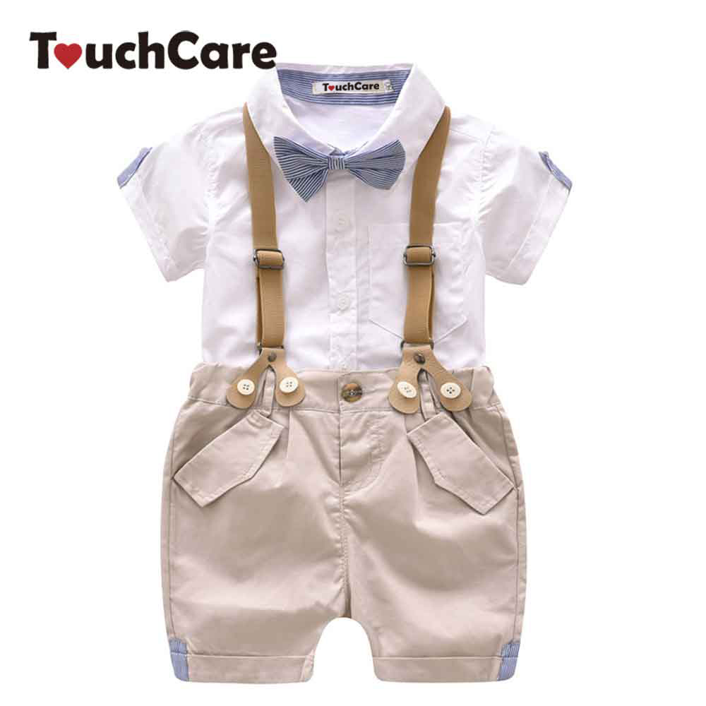 Baby Boys 2 Pcs Clothing Set Summer Infant Shirt Pants Suit Formal Wedding Party Costume with Tie Toddler Suspender Trouser Set toddler boys clothing set summer baby suit tops shirt casual long suspender pant trousers sets formal wedding party costume