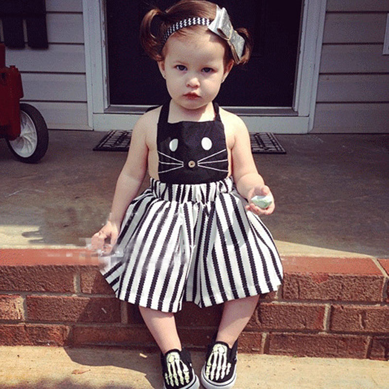 1bbd17144ba1 US $8.18 9% OFF|Newborn Baby Girl Dresses black white stripe beach dress  cartoon cat design toddler girls dress summer vestido infantil 2 6y-in ...