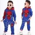 2015 NEW retail spiderman kids clothing sets children fashion cartoon summer shirt + pants boys tees pants suit