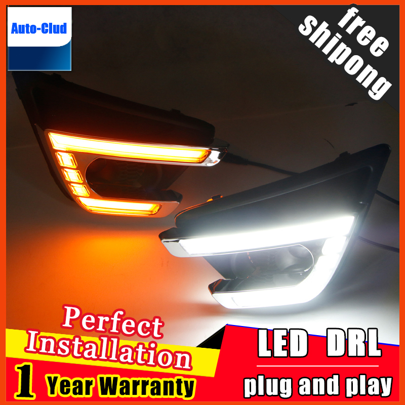 Yellow Turn Signal Style Relay Car DRL 12V LED Daytime Running Light Daylight with fog lamp hole For Mazda CX-5 CX5 2012 - 2016