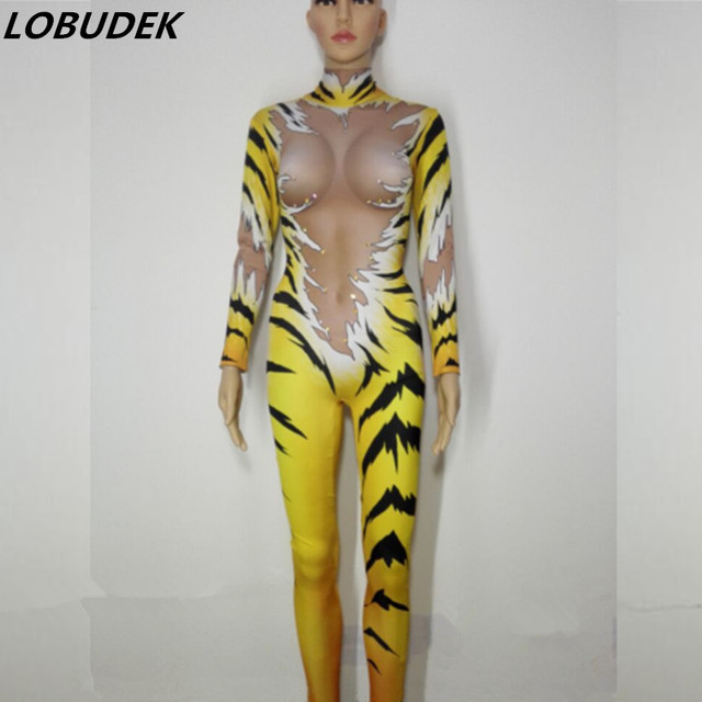 Tiger stripes sexy Jumpsuits Rhinestones Outfit Female costumes performance DJ DS show Singer Dance Nightclub stage bar star