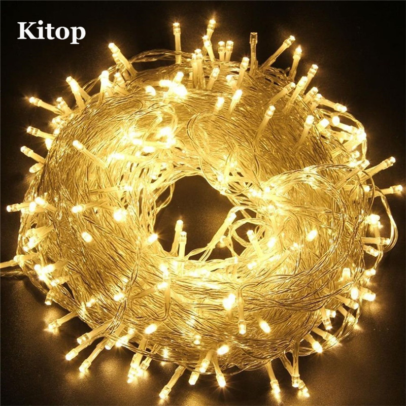 Kitop 110V 220V Christmas led string light 20M 30M 50M fairy lighting waterproof outdoor decoration 8 modes Party Wedding Bar