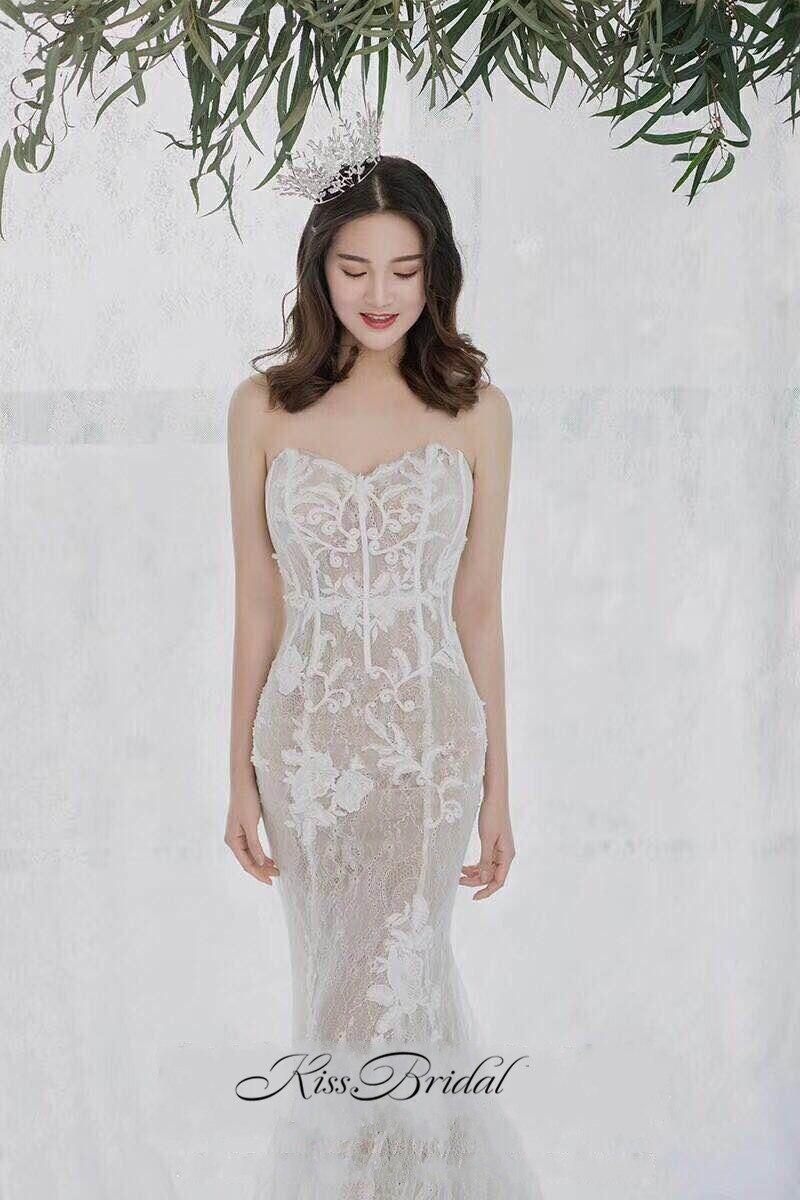c0125453dc3 Потрясающие Красивая Русалка свадебное платье 2018 Милая Корсет Вернуться  Винтаж Кружево невесты Платья для женщин Vestido