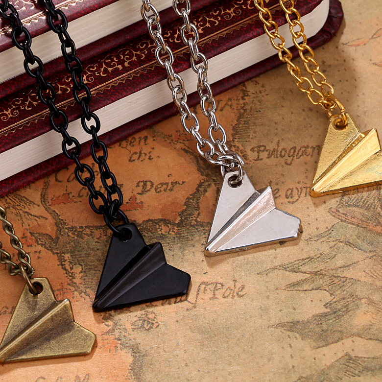 Europe United States Popular Origami Plane Black Gold Silver Plated Necklace Simple Paper Tiny Aircraft Airplane Styles Jewelry image