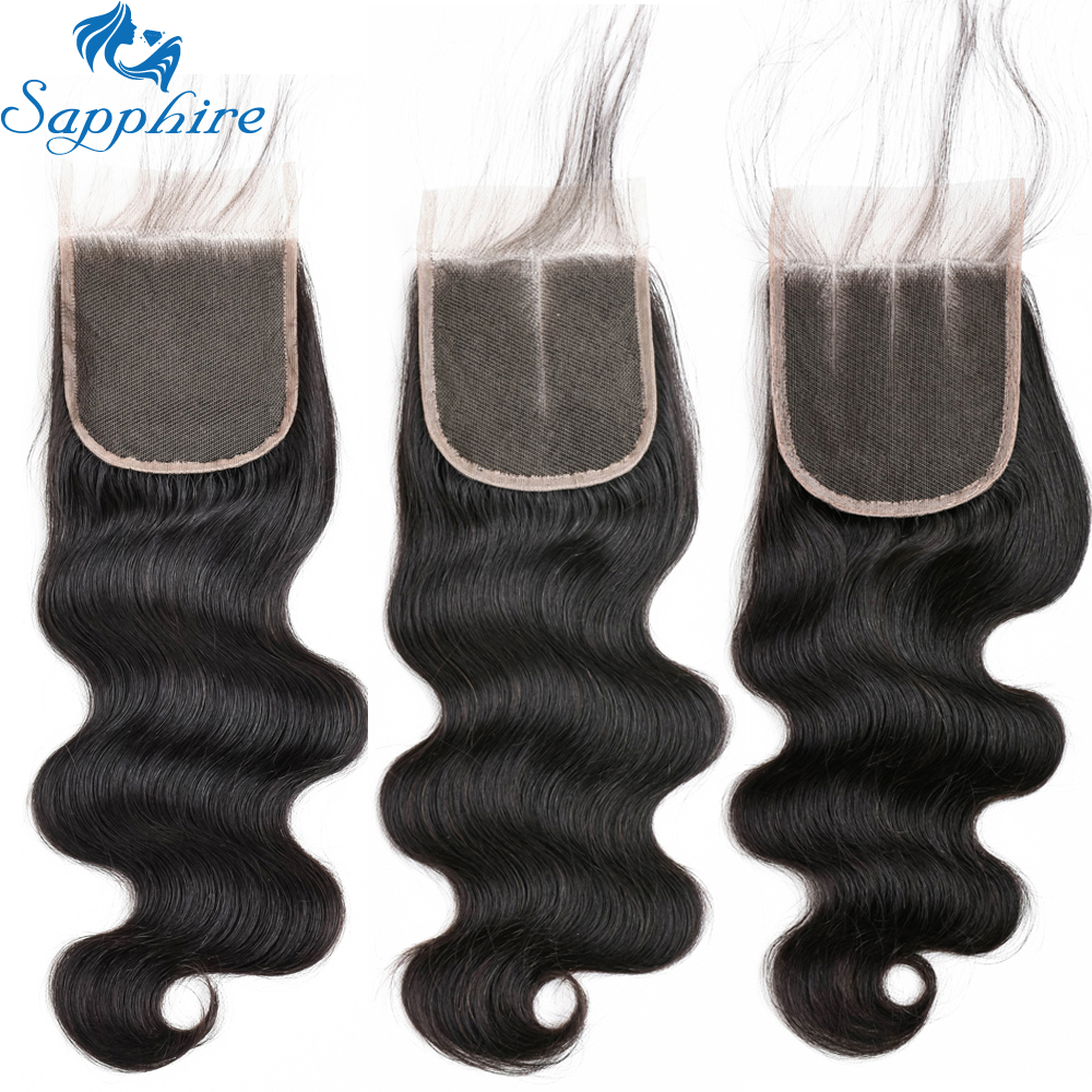 Sapphire Hair Peruvian Body Wave Human Hair Lace Closure 4*4 Natural Color Bleached Knots Remy Hair Extension Free Shipping 1Pc