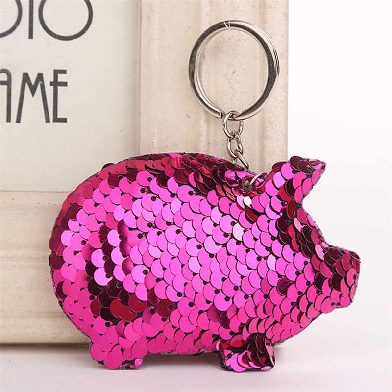 Corrente Chave bonito Saco de Presentes Para As Mulheres Carro Llaveros Mujer Acessórios Anel Chave Chaveiro Chaveiro de Porco Pompom Glitter Lantejoulas