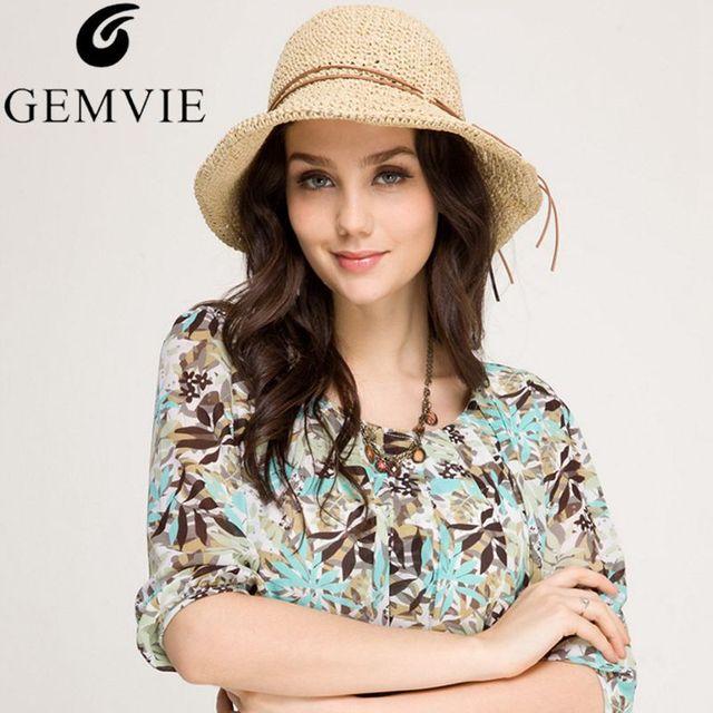 New Trendy Pieghevole A Tesa Larga Rafia Cappelli di Paglia Per Le Donne  Protezione Del Sole 9787ccb6eadf