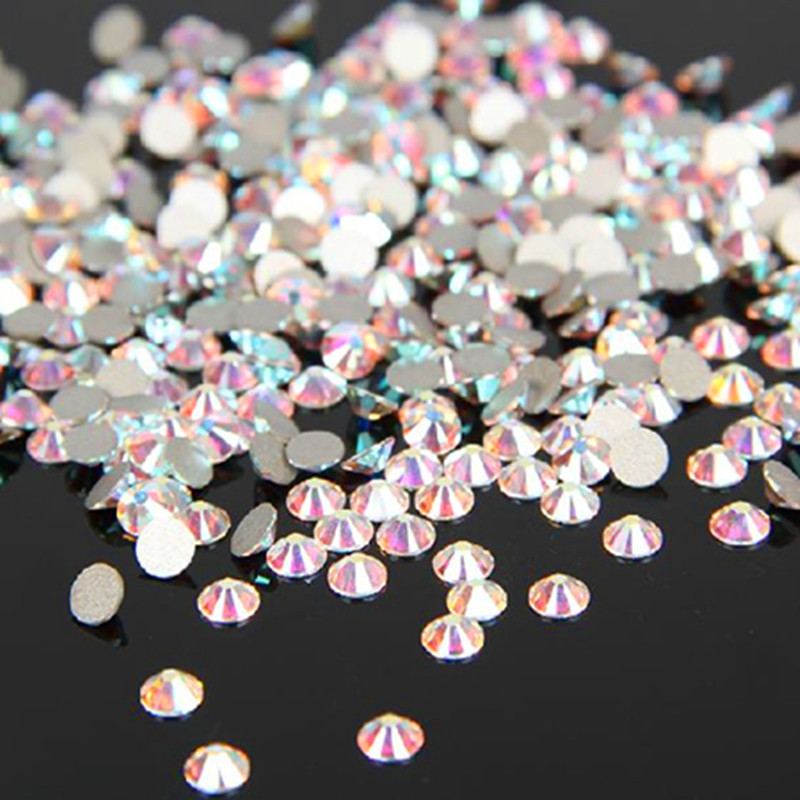 Super Shiny SS3-SS34 Clear AB Glitter No Hotfix Crystal AB Color 3D Nail Art Decoraciones Flatback Piedras Strass Stones