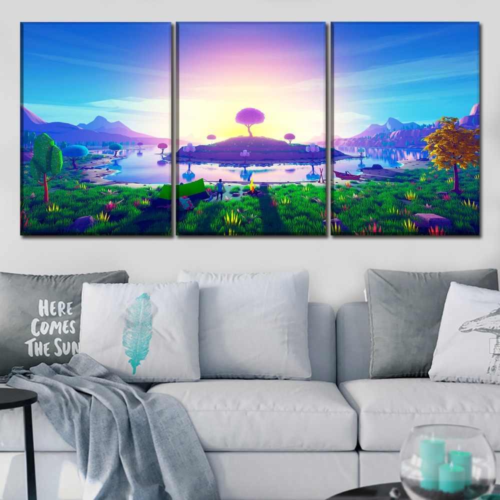 جدار الفن ديكور المنزل الصورة الحديثة قماش طباعة 3 أجزاء 3D مجردة اللوحة جزيرة في الغروب ملصق للأطفال غرفة ديكور