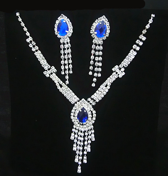 A052 Neckace earrings Jewelry sets Rhinestone Crystal Wedding Bride Party For Women Wholesale Gifts B12 ABC