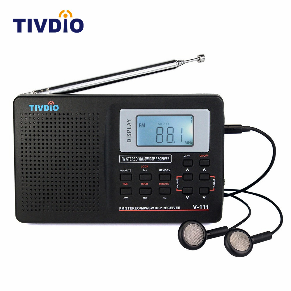 TIVDIO V-111 Portable FM Radio DSP FM Stereo/MW/SW/LW Portable Radio Full Band World Receiver Clock&Alarm 9KHZ/10KHz Radio FM freeshipping tecsun pl 600 full band fm mw sw ssb pll synthesized stereo portable digital radio receiver pl600
