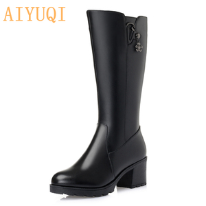 Image 5 - 2020 genuine leather women boots high winter boots pius size 41 42 Russian Federation locomotive boots women