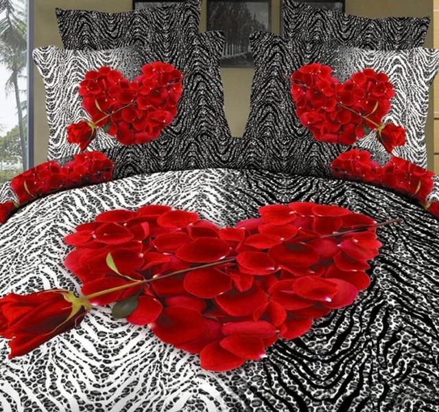 3d amoureux drap ensemble de literie rose rouge coeur housse de couette amour drap de lit