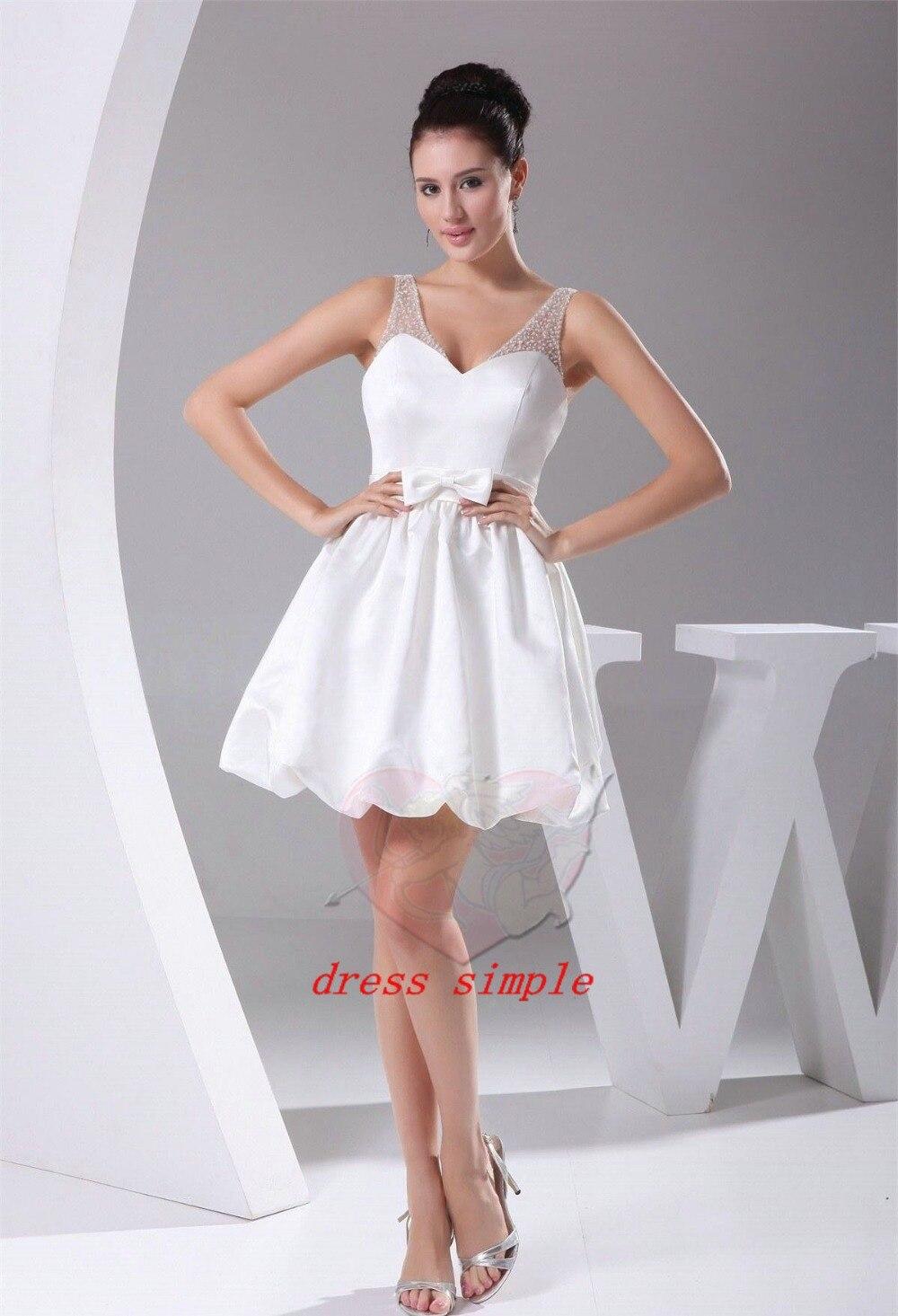 Lovely shoulder beading white ball gowns short dress sleeveless zipper knee-length homecoming - simple's store