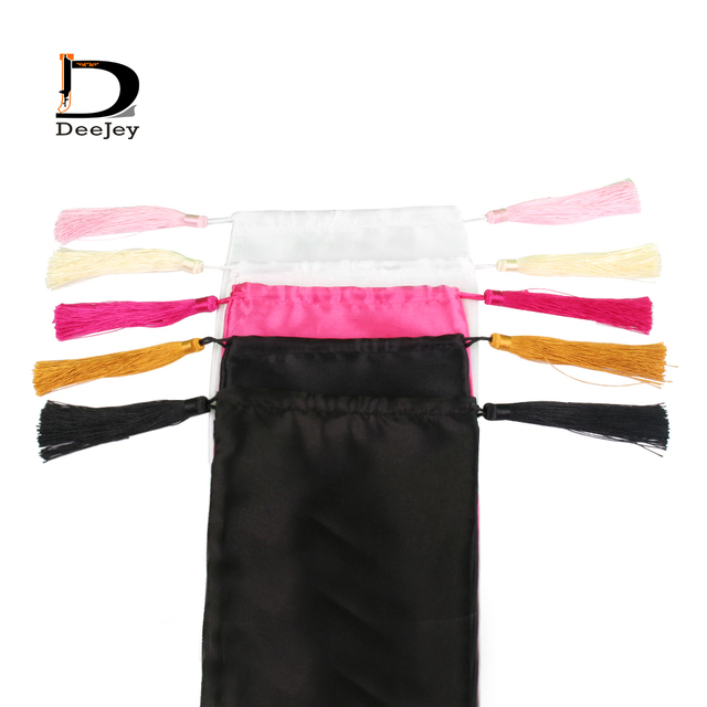 В наличии пустая 18x30 см атласная шелковая упаковочная сумка для наращивания волос или пучка волос подарок белый черный ярко-розовый цвет ва...