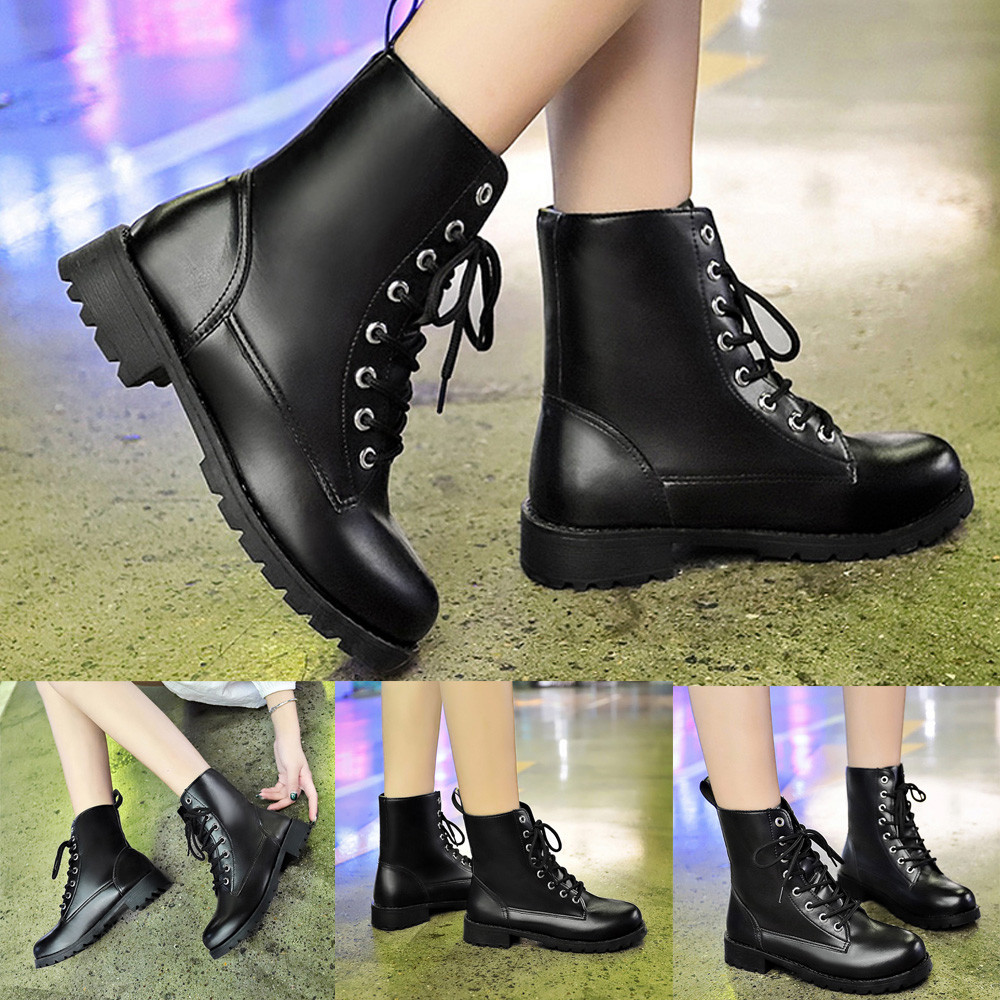 Winter boots women Round Toe Leather Shoes Flat ies Lace Up Martin Leisure  Shoes botas mujer  20180924-in Ankle Boots from Shoes on Aliexpress.com  3389530bb082