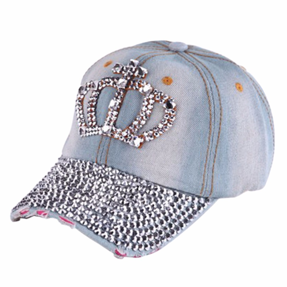 2016 Women Casual Rhinestone Stud Bling Crown Baseball Cap Hat Gifts Hip  Hop Fashion Caps Wholesale 1pcs 24fbd0e9a04