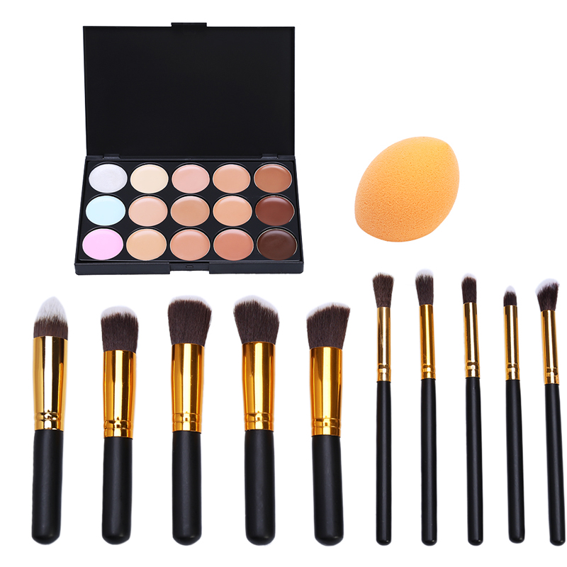Fashion 10Pcs Professional Makeup Powder Foundation Blush Eyeshadow Brushes + Sponge Puff + 15 Color Cosmetic Concealer Palette bob cosmetic makeup powder w puff mirror ivory white 02