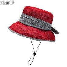SILOQIN 2019 Summer Womens Bucket Hats Breathable Hat Large Sun Visor Cap Wind Rope Fixed Fashion Beach Elegant Lady Sunhat