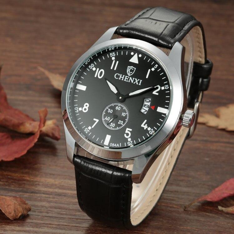 100% Original CHENXI Brand Army Sports Racing Running Waterproof Leather Quartz Wristwatches Black Wrist Watch 084A OP001