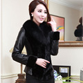 Женщины кожаная куртка пальто с енота меховым воротником slim fit женская верхняя одежда куртки и пальто FS0084