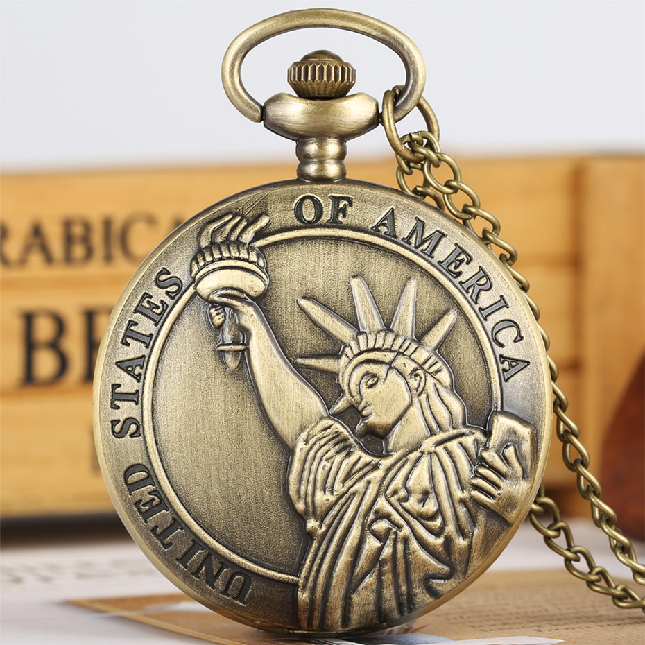 Statue Of Liberty Theme Quartz Pocket Watch Bronze Cool Full Hunter Pendant Necklace Souvenir Clock For Men Women Dropshipping