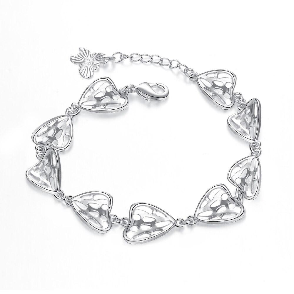 fashion Silver plated bracelet lovely girls bangles gift bag free girls hearts design friend ship bracelet