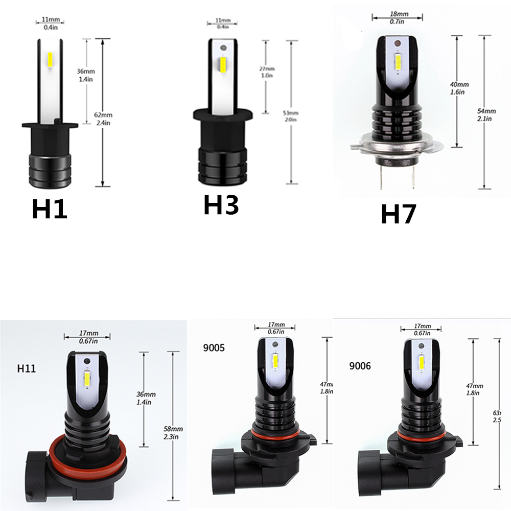 2Pcs H1 H3 H7 H11 HB3 HB4 LED Car lights 2000LM 60W 6000K White CSP Super Bright Led Fog Light Bulb 12V 9005 9006 Auto Fog Lamp in Car Headlight Bulbs LED from Automobiles Motorcycles