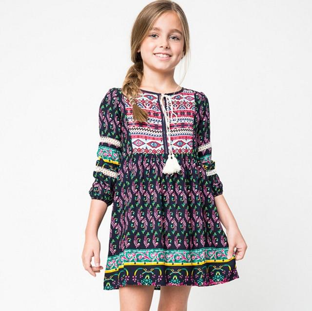 17b660256 Bohemia vestidos para niñas de 10 años otoño trajes de invierno 12 niñas  adolescentes ropa de