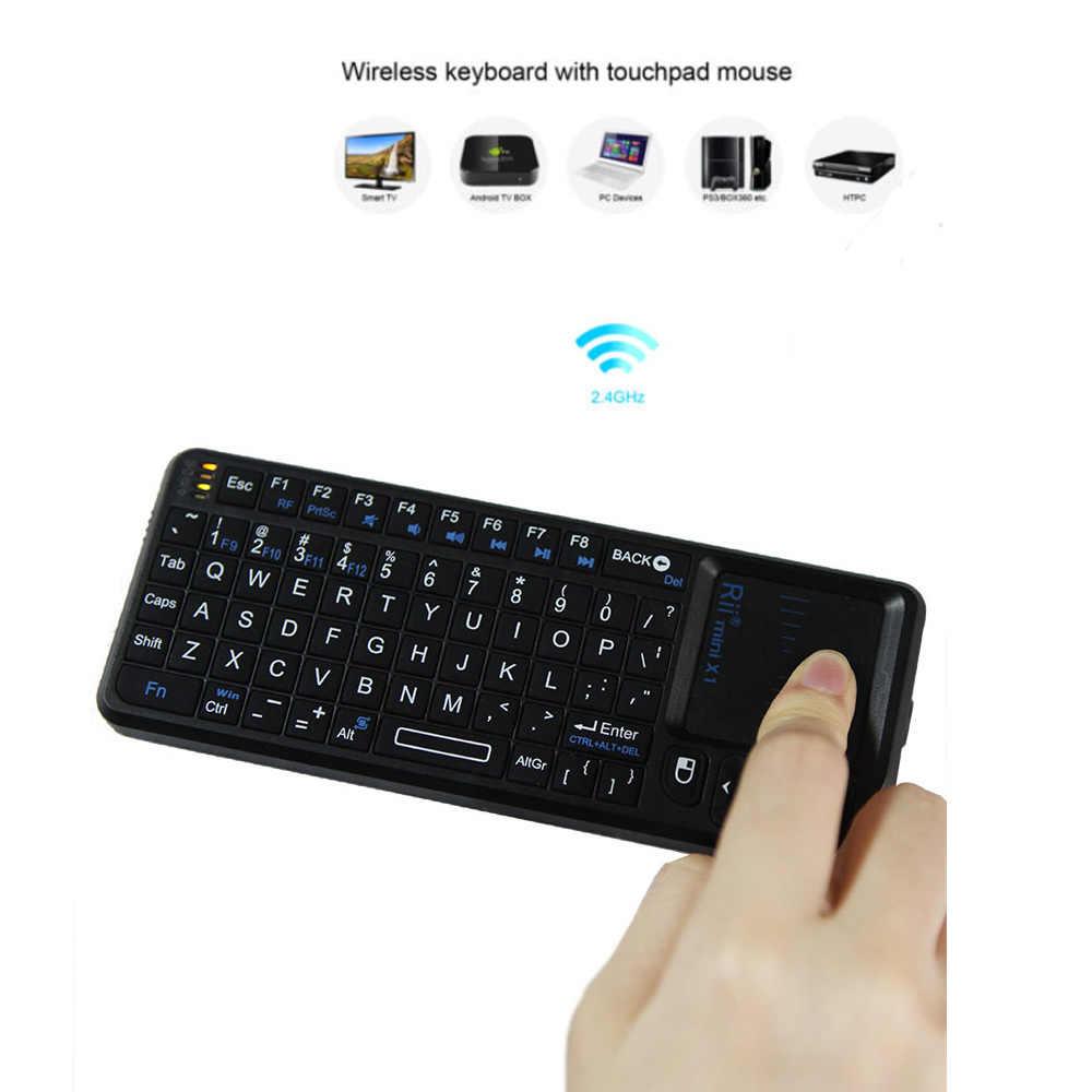 Rii мини портативный 2.4 г беспроводная клавиатура сенсорная панель мышь игровой клавиатуры для портативных пк ноутбук смарт-tv андроид TV BOX