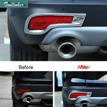 Tonlinker Cover Case Stickers for Honda CRV 2017 Car Styling 2 PCS ABS Chrome Mirror Rear fog light decoration cover sticker