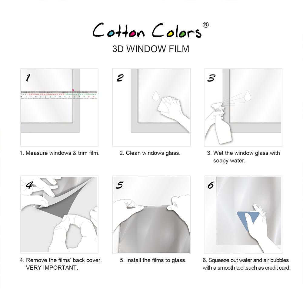 CottonColors Prozori o privatnosti Filmovi Premium Bez ljepila 3D - Kućni dekor - Foto 6