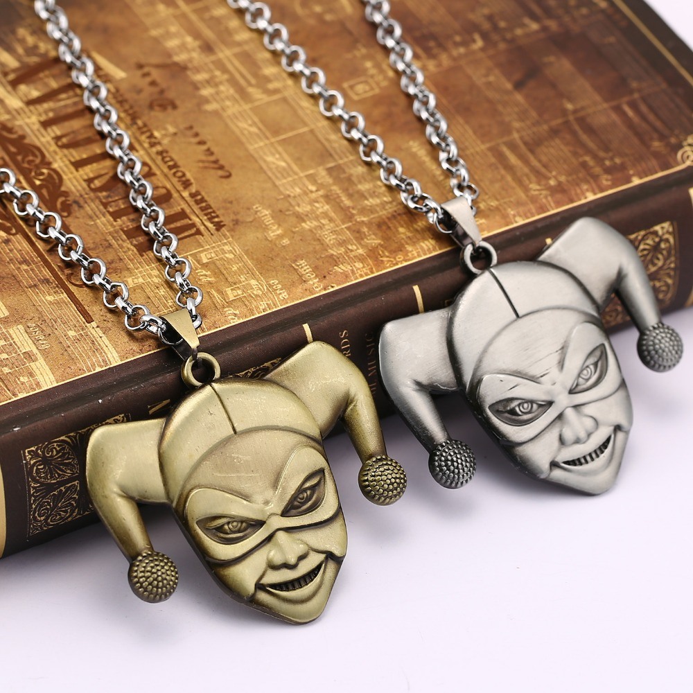 Movie jewelry Suicide Squad Harley Quinn Metal Necklace metal chain Cosplay Pendant for Boy Girl Men Women