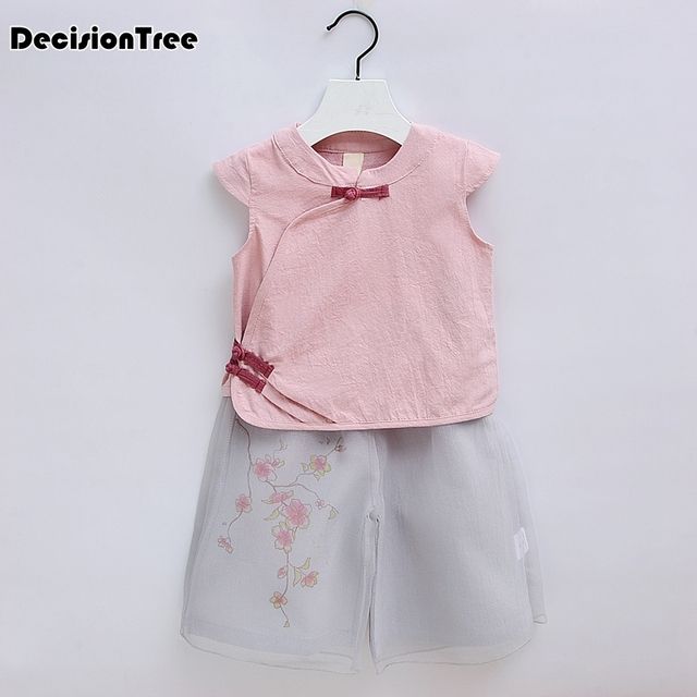 2019 new girl Cotton linen suits two piece set chinese cheongsam pink printed ethnic clothing children performance costume